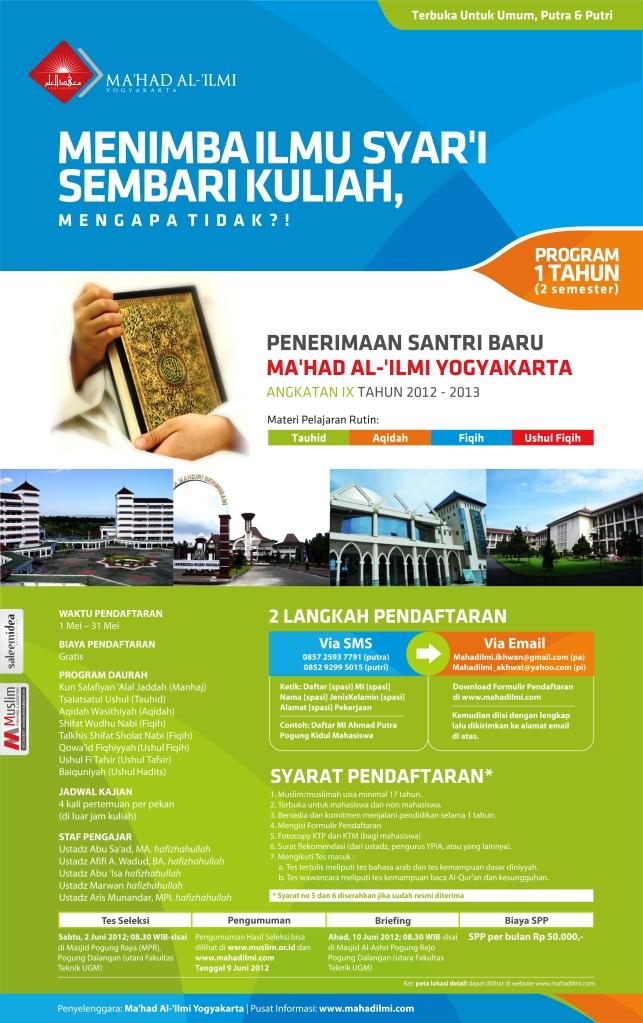 Penerimaan Santri Baru Ma'had Al 'Ilmi Yogyakarta Angkatan IX Tahun 2012-2013